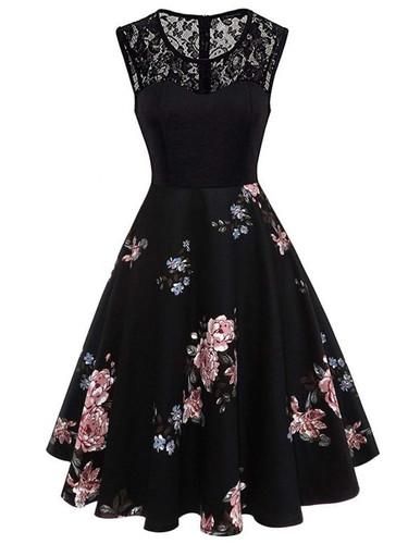 Contrast Lace Floral Print Dress