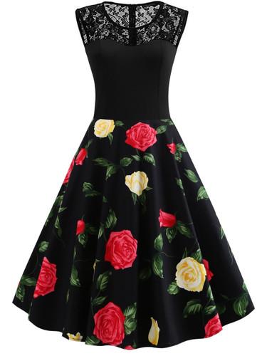 50s Contrast Lace Floral Print Dress - Black