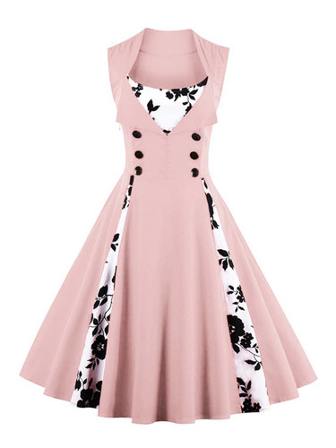 Contrast Panel Double Breasted Circle Dress - Pink