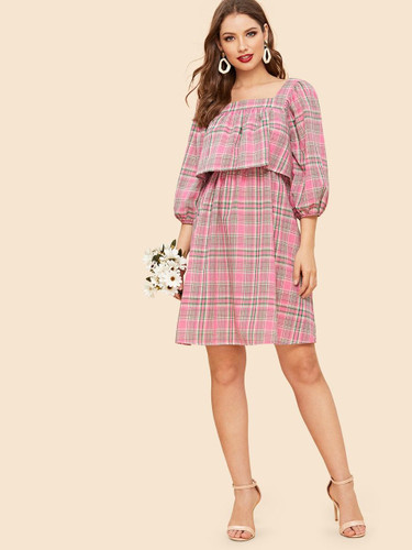 90s Bishop Sleeve Two Layer Plaid Dress