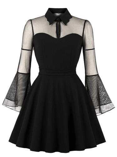 Contrast Mesh Solid Dress