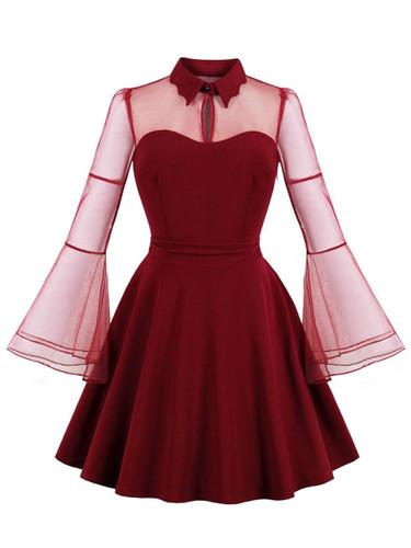 50s Contrast Mesh Flounce Sleeve Dress