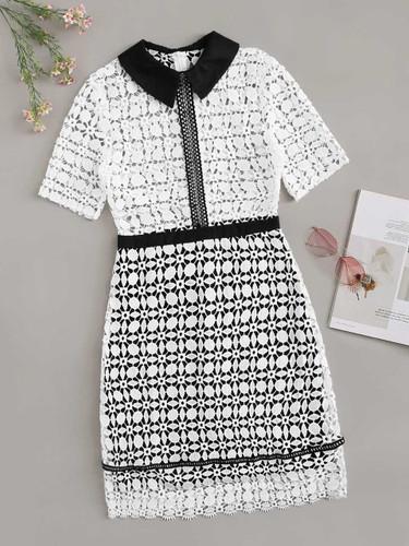 Guipure Lace Geo Collar Dress