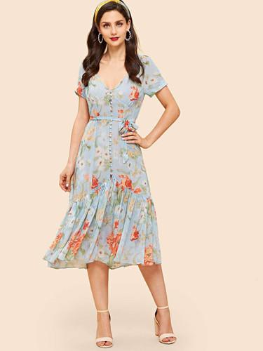 Button Up Flounce Hem Botanical Dress