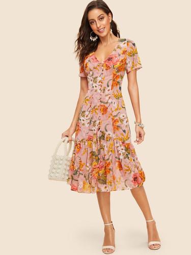 Button Front Flounce Hem Floral Dress