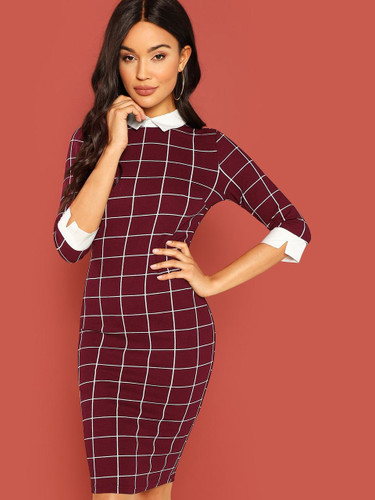 Contrast Collar and Cuff Grid Dress - Burgundy
