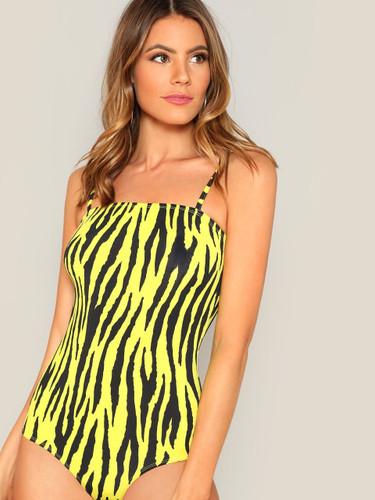 Zebra Print Fitted Cami Bodysuit
