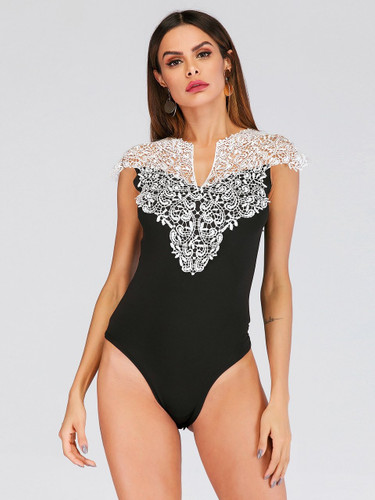 Lace Panel Fitted Bodysuit