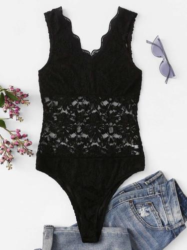 Scallop Neck Floral Lace Bodysuit