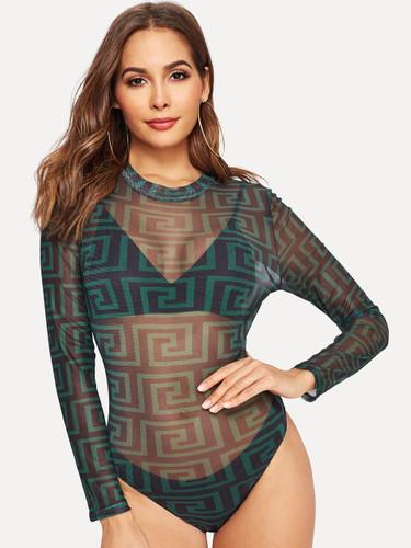 Greek Fret Print Sheer Fitted Bodysuit - Multicolor