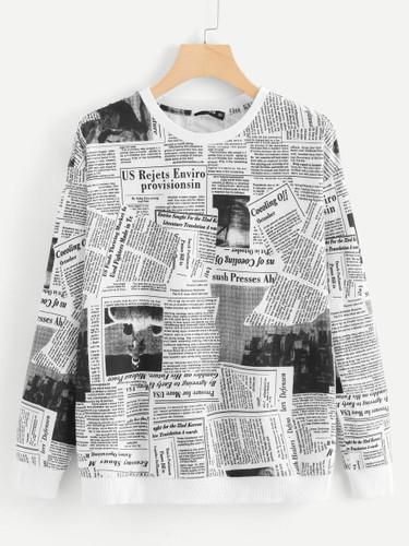 Newspaper Print Sweatshirt