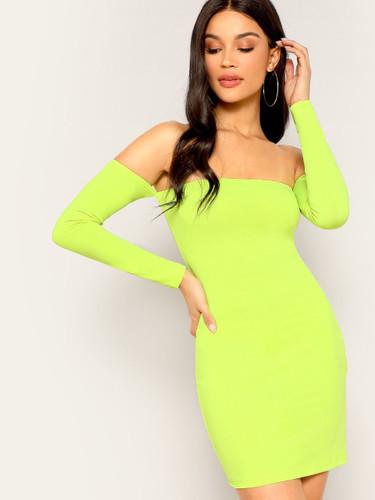 Off Shoulder Neon Yellow Bodycon Dress