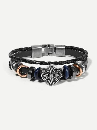 Men Shield Detail Layered Woven Bracelet