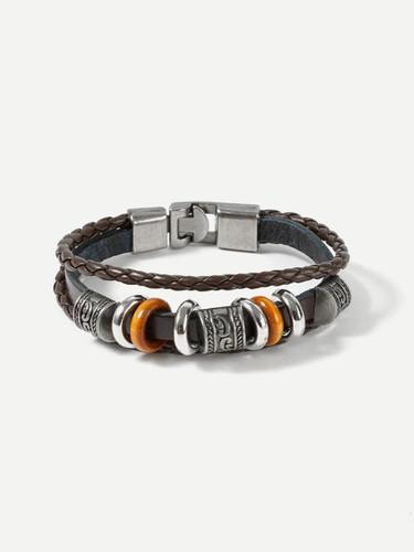Men Ring Detail Layered Woven Bracelet