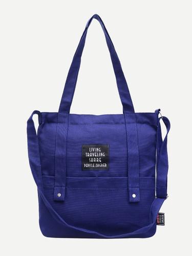 Slogan Patch Canvas Tote Bag