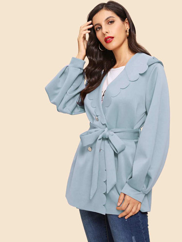 Scallop Edge Self Belted Wrap Coat