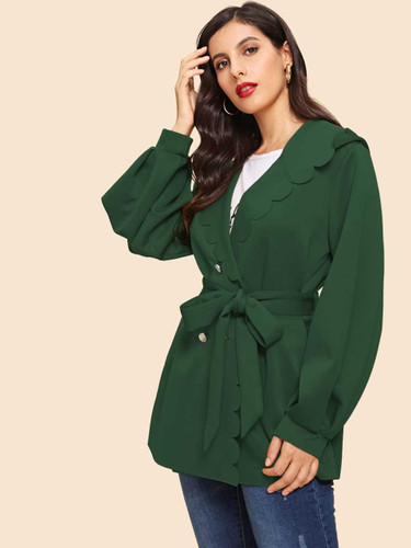 Button Front Scallop Trim Belted Coat