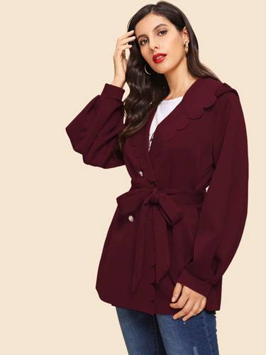 Button Front Scallop Trim Belted Coat - Burgundy
