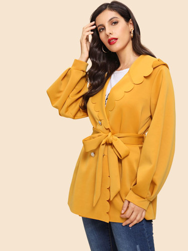 Button Front Scallop Trim Belted Coat - Ginger