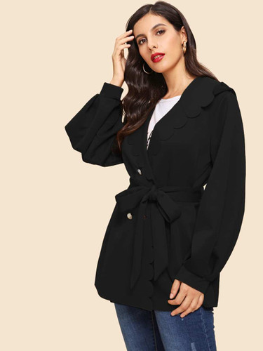 Button Front Scallop Trim Belted Coat - Black