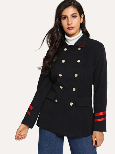 Double Breasted Striped Tape Coat