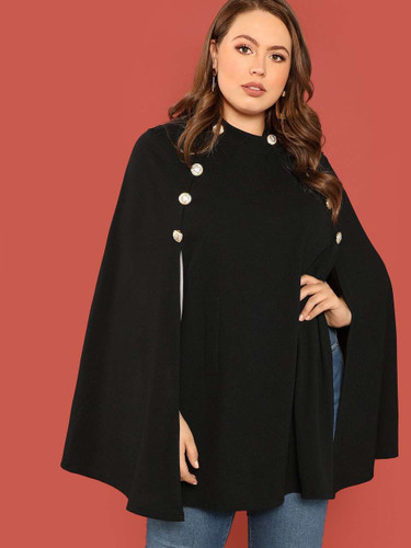Plus Double Breasted Front Cape Coat