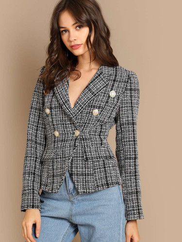 Notch Collar Double Breasted Tweed Coat