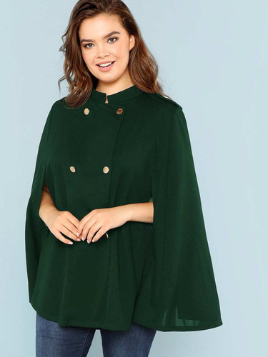 Plus Double Breasted Cape Coat - Green