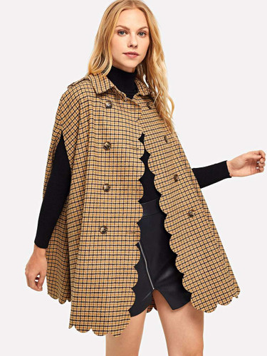 Button Front Plaid Collar Poncho Coat