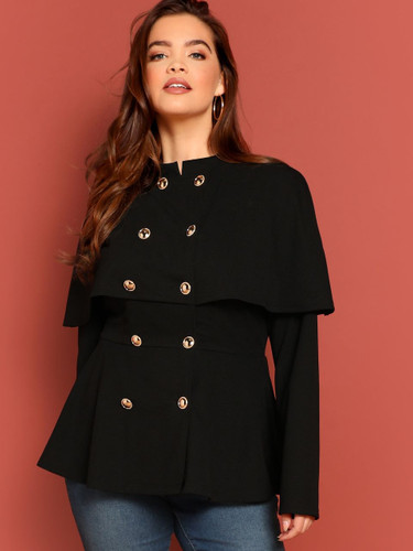 Plus Double Breasted Solid Cape Coat - Black
