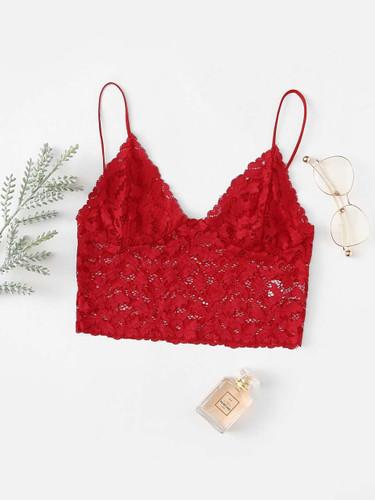 Longline Lace Bralette - Red