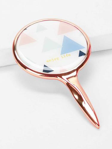 Geometric Pattern Makeup Mirror With Metallic Handle