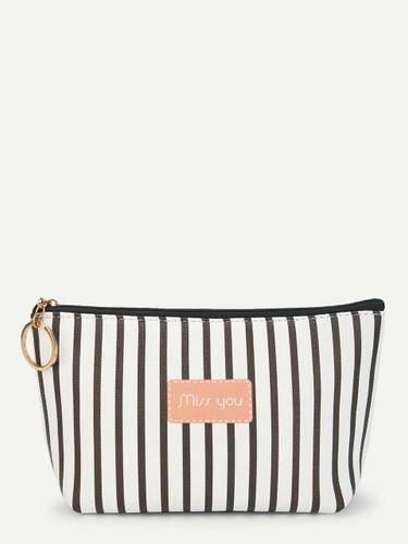 Striped Zipper Makeup Bag