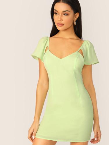 Ruffle Sleeve Low Back Mini Dress