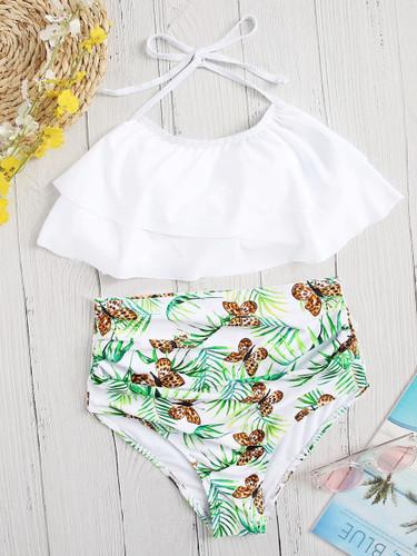 Layered Halter Top With Random Butterfly Bikini