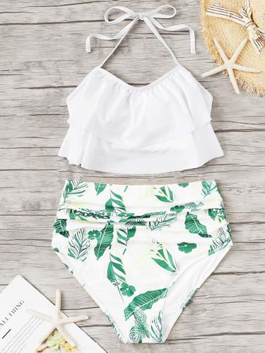 Layered Halter Top With Random Leaf Bikini
