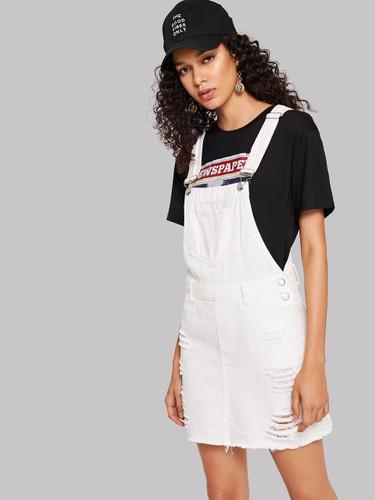 Raw Hem Center Seam Overall Denim Dress - White