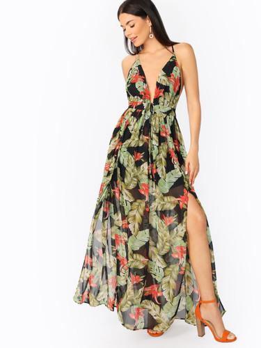 V-Neck Tropical Leaf Print Double Slit Maxi Dress