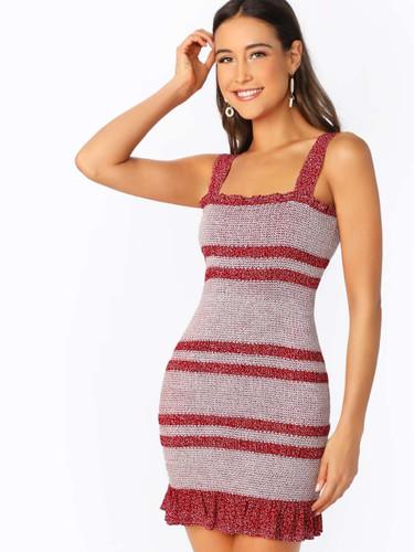 Sleeveless Bodycon Smocked Ruffle Hem Mini Dress
