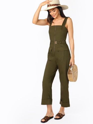 Zip Front Belted Waist Utility Overall Jumpsuit