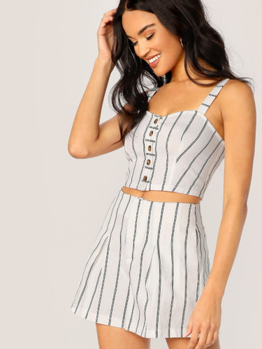 Button Front Striped Crop Top And Shorts Set