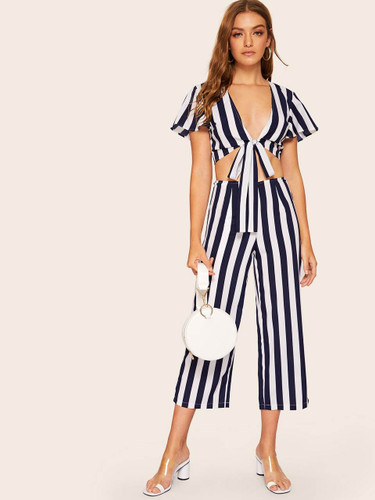 Two Tone Knot Hem Top and Wide Leg Pants Set - Navy