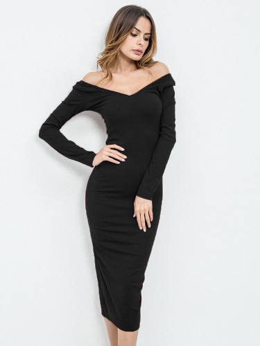 Rib Knit Bardot Midi Dress