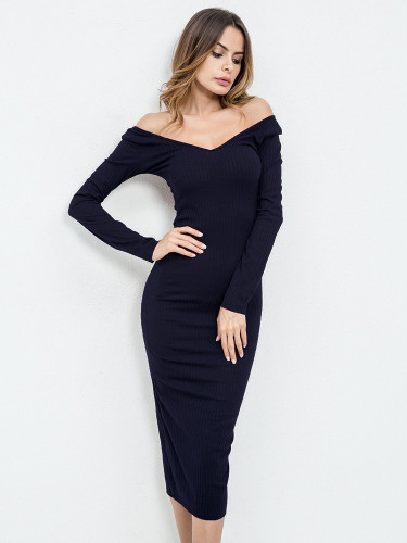 Rib Knit Bardot Midi Dress - Navy