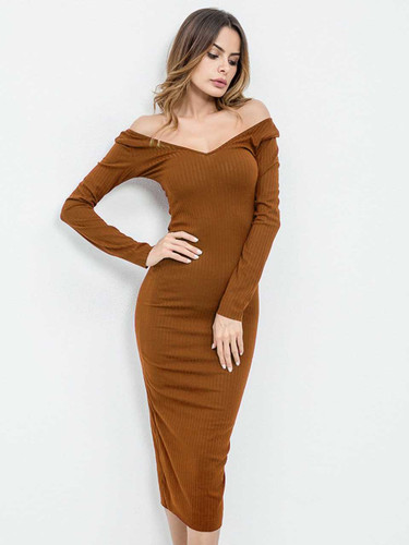 Off Shoulder Ribbed Dress