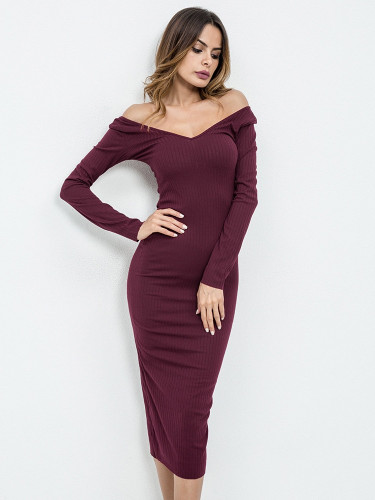 Off Shoulder Ribbed Dress - Burgundy