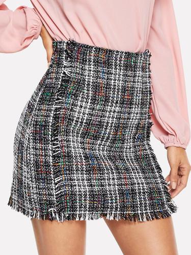 Colorblock Raw Trim Tweed Skirt