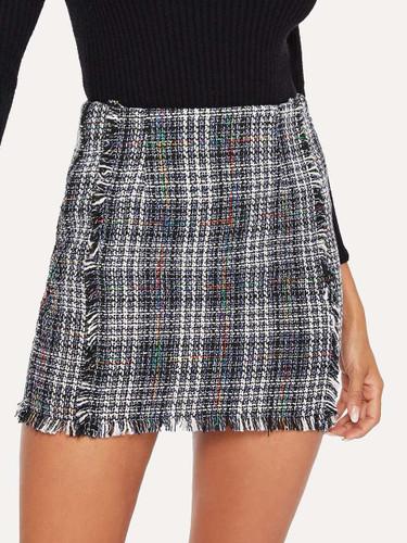 Frayed Trim Plaid Tweed Skirt - 3b9f6f79