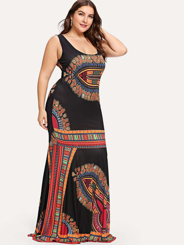 Plus Ornate Print Fitted Tank Dress