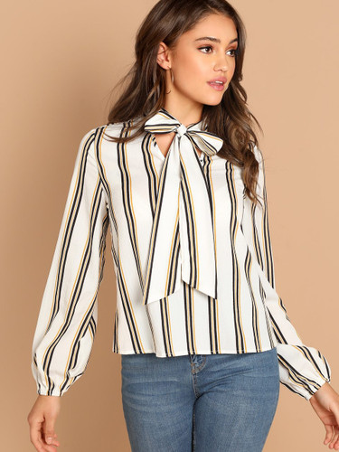 Tie Neck Striped Blouse - 1